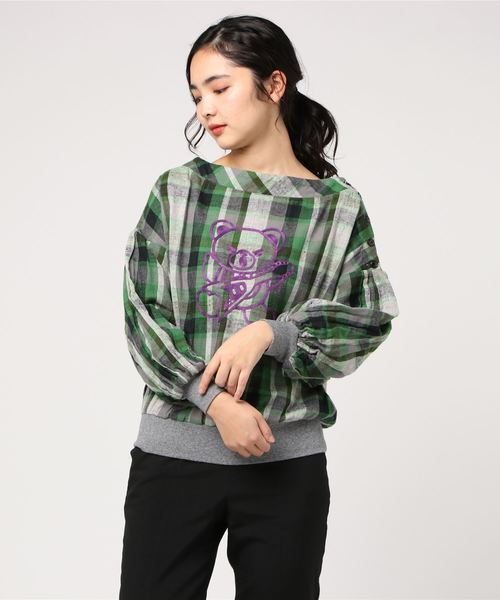 HYSTERIC BEAR刺繍 長袖プルオーバーブラウス