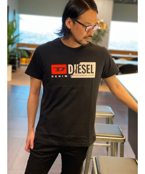 DIESEL(ディーゼル)の「ユニセックス Tシャツ Wロゴ デザイン(Tシャツ/カットソー)」|ブラック