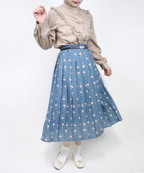 Hamble by Par Avion(ハンブルバイパラビオン)の「フラワードットプリーツスカート(スカート)」|ブルー