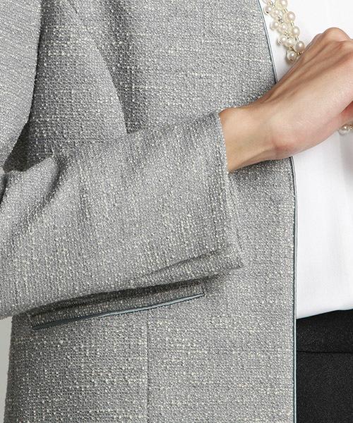 ニット仕立てで作られた万能ツイードジャージジャケット