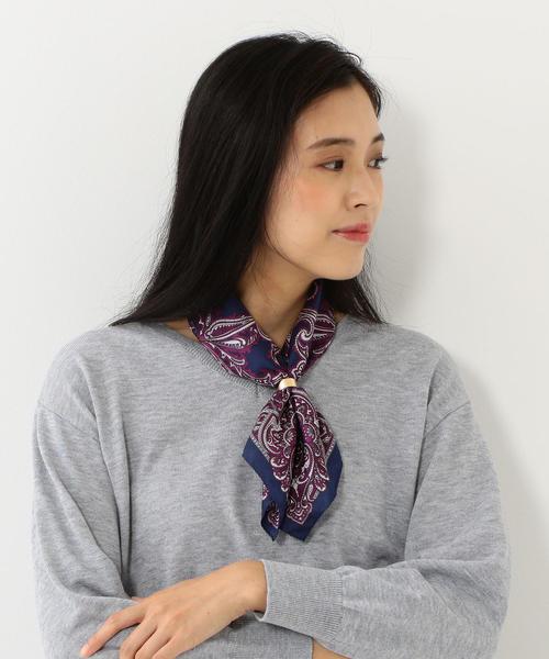 <kiu> ペイズリー リング スカーフ 53×53