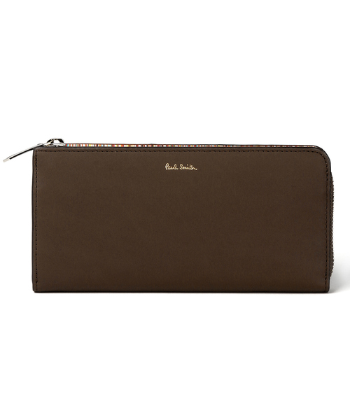 Paul Smith(ポール・スミス)の「MULTI STRIPE BOADER LONG ZIP WALLET / 873418 P895(財布)」|ブラウン