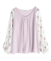 チュール刺繍袖プルオーバー(Tシャツ/カットソー)