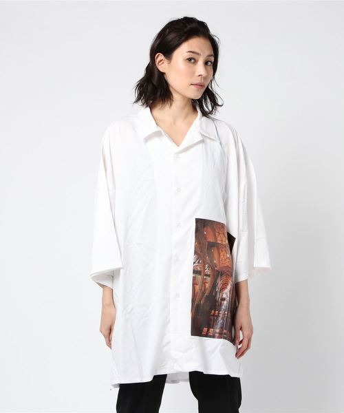 Clut/クルト/オーバーサイズシルエット 半袖オープンカラーシャツ