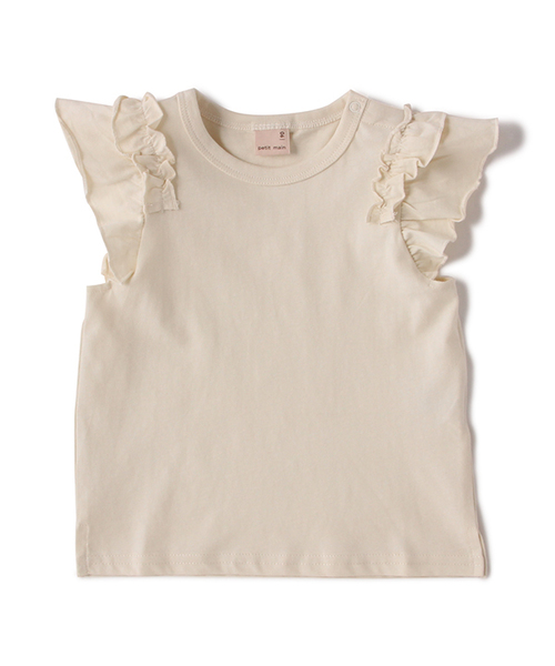 ee3229b683a16 petit main(プティマイン)の袖フリル半袖Tシャツ(Tシャツ カットソー