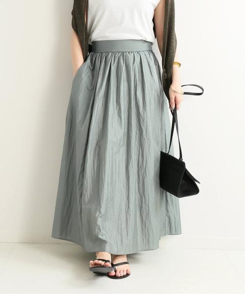 SLOBE IENA(スローブイエナ)の「ダイヤモンドワッシャーギャザースカート【手荒い可能】◆(スカート)」|カーキ