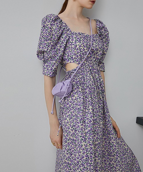 【Fano Studios】【2021SS】Square neck floral flare dress FA20L107