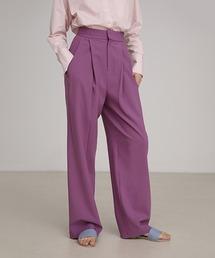 【unspoken】Purple tack high-waist pants FAZ19321chwパープル