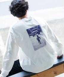 カラーフォトプリントロングスリーブTシャツ