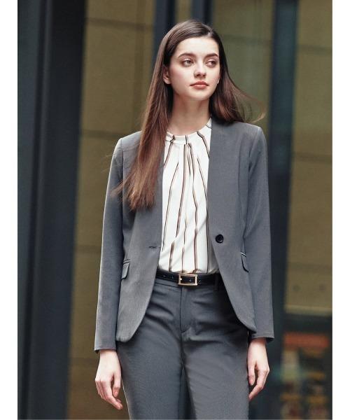エムエフエディトリアルレディース/m.f.editorial:Women トラベスト/TRABEST ピンヘッド柄セットアップVカラー1釦ジャケット (セットアップパンツ·スカートございます)