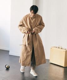 2WAY オーバーサイズ ウエストマークヨークデザイン スプリングロングコート/フーディー/スタンドカラー EMMA CLOTHES 2021S/Sベージュ