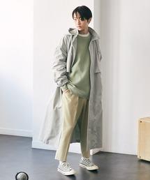 2WAY オーバーサイズ ウエストマークヨークデザイン スプリングロングコート/フーディー/スタンドカラー EMMA CLOTHES 2021S/Sブルー