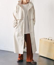 2WAY オーバーサイズ ウエストマークヨークデザイン スプリングロングコート/フーディー/スタンドカラー EMMA CLOTHES 2021S/Sアイボリー