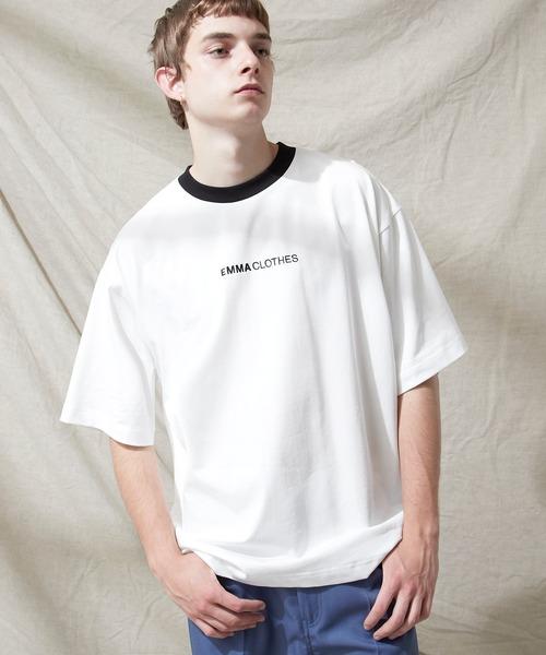 シルケットライク天竺 オーバーサイズロゴ刺繍 カラー配色 リンガー ネック S/Sカットソー EMMA CLOTHES 2021SUMMER