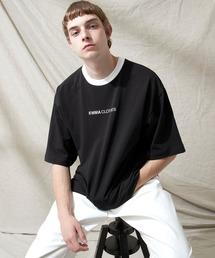 シルケットライク天竺 オーバーサイズロゴ刺繍 カラー配色 リンガー ネック S/Sカットソー EMMA CLOTHES 2021SUMMERブラック系その他
