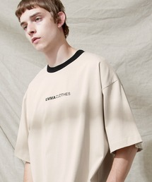 シルケットライク天竺 オーバーサイズロゴ刺繍 カラー配色 リンガー ネック S/Sカットソー EMMA CLOTHES 2021SUMMERベージュ系その他