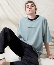 シルケットライク天竺 オーバーサイズロゴ刺繍 カラー配色 リンガー ネック S/Sカットソー EMMA CLOTHES 2021SUMMERブルー系その他