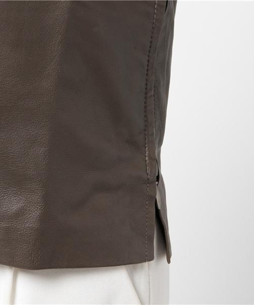 【数量限定】インポート Leather Blouse レザーブラウス レザー ブラウン レディース [HOPE/ホープ]