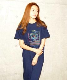 ロゴ刺繍ワンピース/Tシャツ ワンピースネイビー