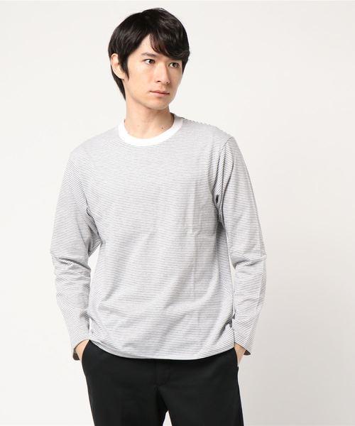 ・ミジンボーダー長袖Tシャツ