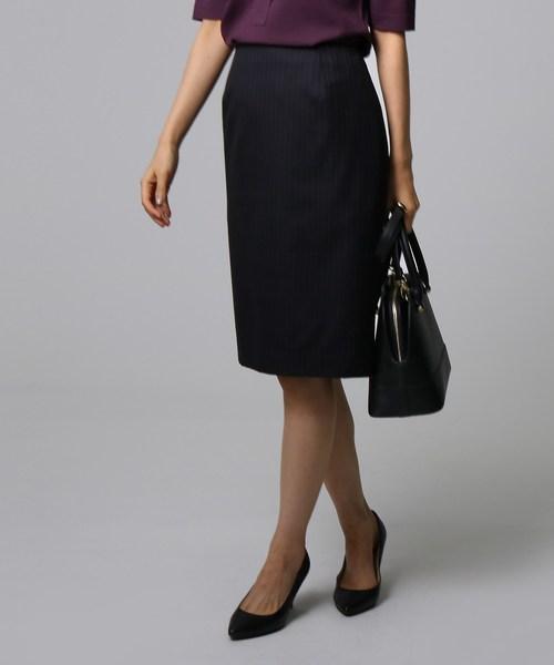 【驚きの価格が実現!】 [L]ウールストライプタイトスカート, マカベグン 43893541