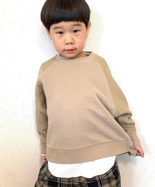 【coen キッズ / ジュニア】切り替え裏毛スウェット×ワッフルロングTシャツ2セット