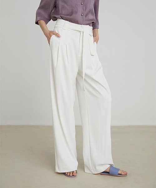 【UNSPOKEN】Waist ribbon wide pants FAZ20600chw