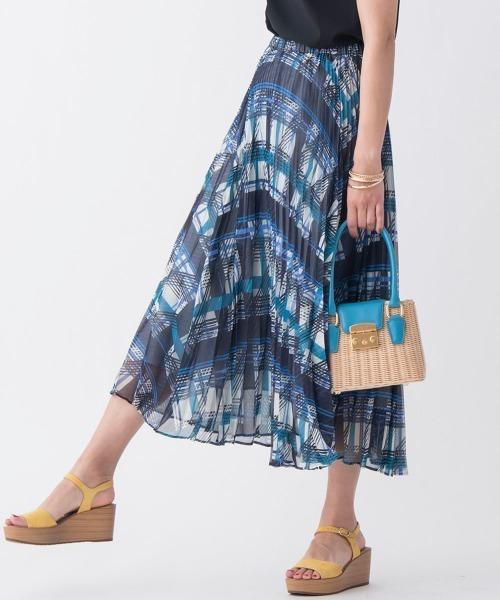 ·SET UP対応·幾何チェックプリントプリーツスカート