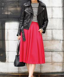 MODE ROBE(モードローブ)のカラーフレアスカート ロングスカート(スカート)