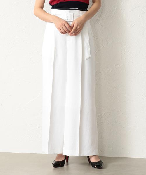 LOVELESS(ラブレス)の「【LOVELESS】WOMEN リネンライク ホワイトワイドパンツ(パンツ)」|オフホワイト