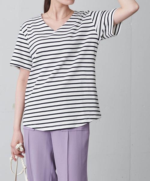 綿フライスベーシックVネック半袖T/シンプルカットソー/キレイめトップス/コットンスライス