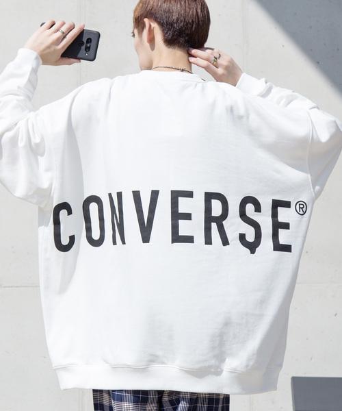 【BASQUE -enthusiastic design-】別注 コンバースBIG オーバーサイズプルオーバースウェット 背面BIGロゴ&袖刺繍