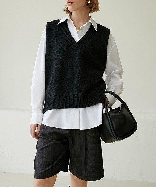【Fano Studios】【2021SS 先行予約】V-neck loose knit vest FQ20S069