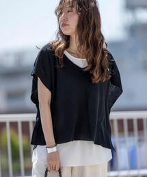 【2セットアイテム】麻ライククロップドベスト×Tシャツセット