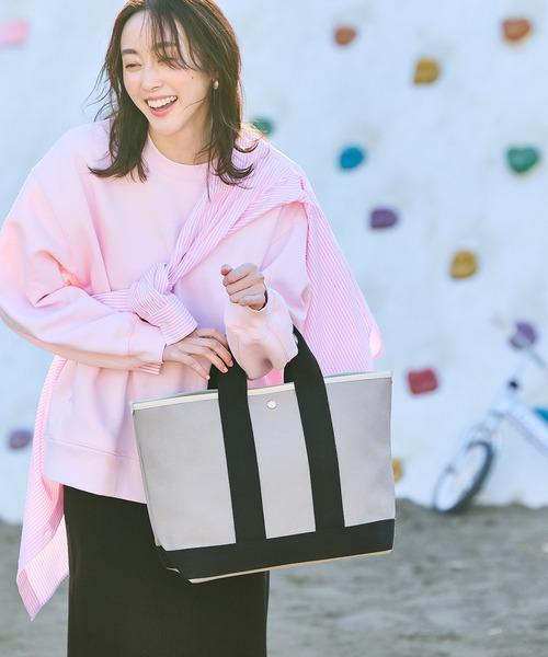TOPKAPI(トプカピ)の「【日本製】スコッチグレイン ネオレザー・A4トートバッグ 日本製(トートバッグ)」|グレイッシュベージュ