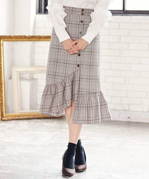 KOBE LETTUCE(コウベレタス)の「女性らしいフリルで大人っぽい秋Styleに!サイドボタンフリルヘムタイトスカート/レディースボトムス[M1935]神戸レタス(スカート)」|ブラウン系その他