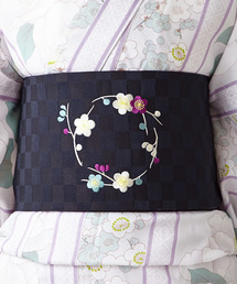 ふりふ(フリフ)の半巾帯「梅まる椿」(和装小物)