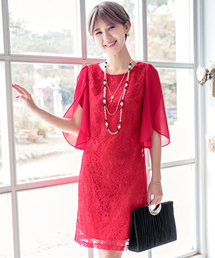 e1fa89099d040 DRESS STAR(ドレス スター)の「フリル(シフォン)スリーブレースワンピース(