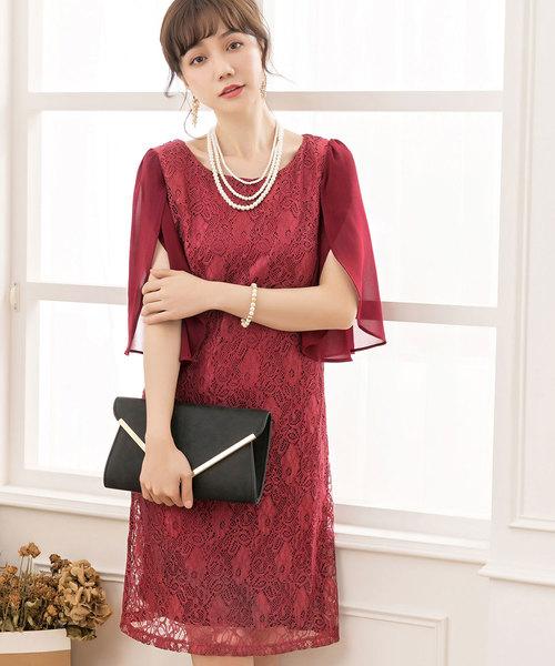 1530d13e3e2c2 DRESS STAR(ドレス スター)のフリル(シフォン)スリーブレースワンピース(ドレス