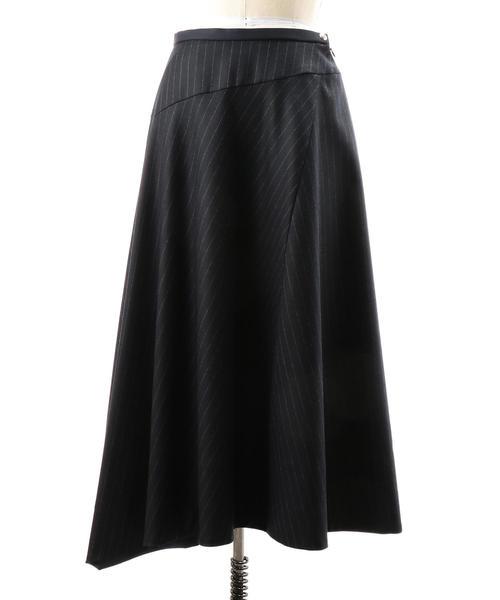 Drawer サキソニーストライプフレアスカート