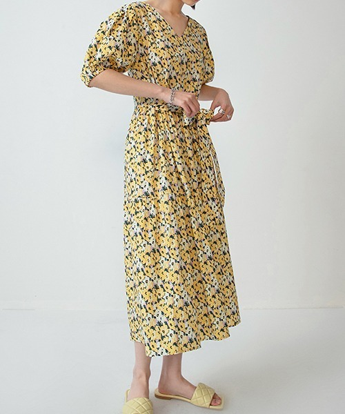 【Fano Studios】【2021SS】V-neck Floral Flare dress FX20L117