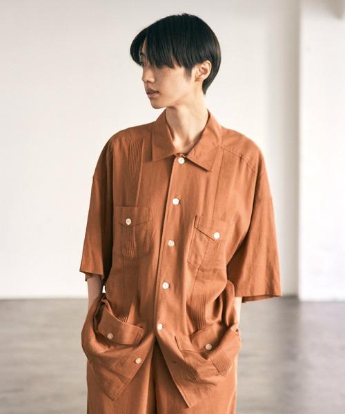 リネンレーヨン オーバーサイズ ピンタックキューバシャツ/EMMA CLOTHES 2021SS (セットアップ対応)