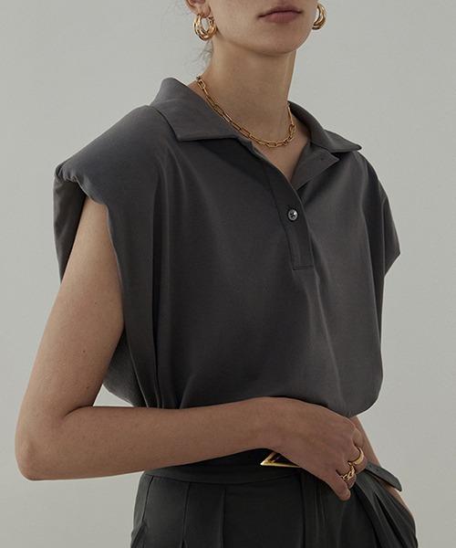 【UNSPOKEN】Power shoulder polo shirt  UC21L001