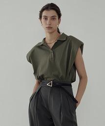 【unspoken】Power shoulder polo shirt  UC21L001カーキ