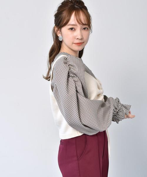 【セットアイテム】ニットビスチェ+チェックブラウス