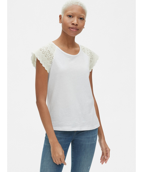 アイレット刺しゅう半袖クルーネックTシャツ