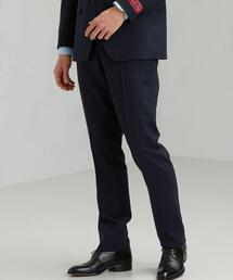 [ 御幸毛織 ] シャドウ ストライプ スリム ノープリーツ スーツ パンツ スラックス