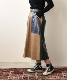コーティングエコレザー配色スカートベージュ