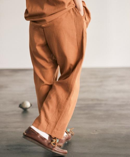 リネンレーヨン ピンタックサイドライン イージーストレートパンツ /EMMA CLOTHES 2021SS (セットアップ対応)