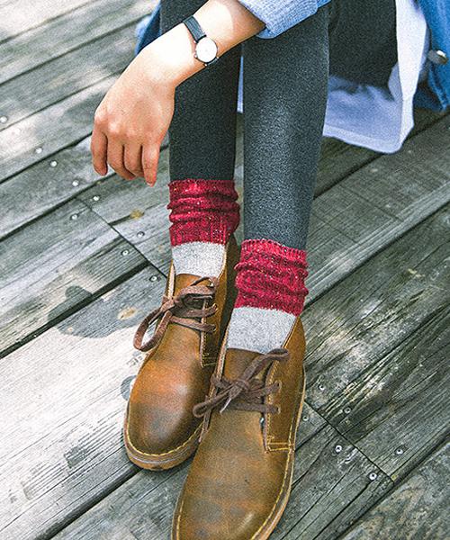 Fun & Daily(ファンアンドデイリー)の「F&D : カラーネップ&バイカラーソックス(ソックス/靴下)」|グレー